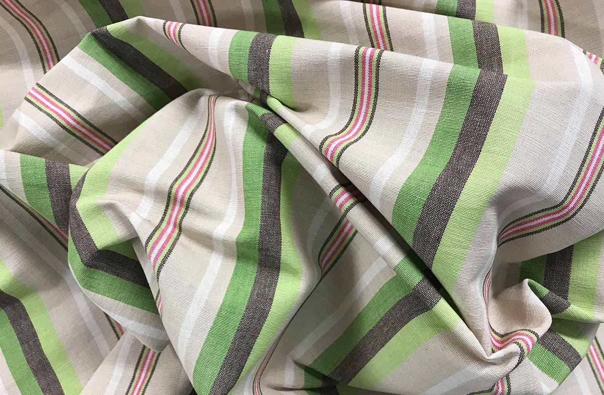 Green, Pale Green, Beige Stripe Fabric