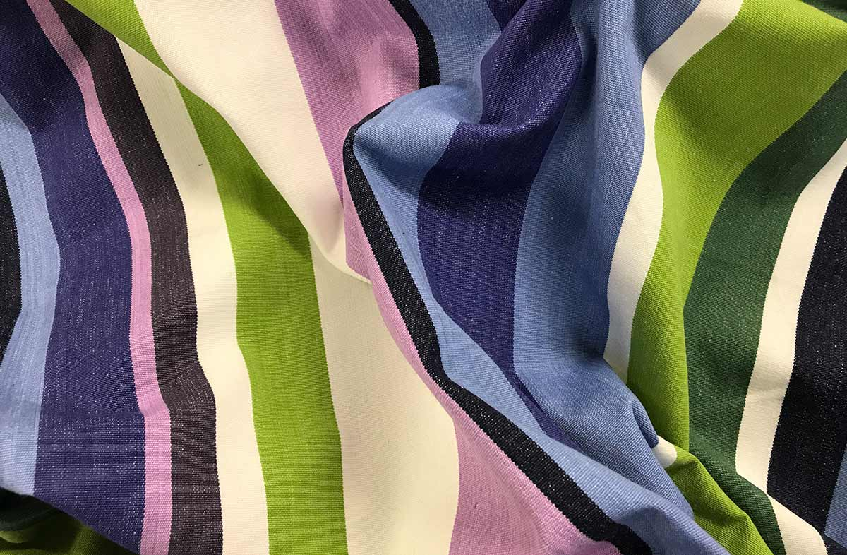 Green Blue Striped Fabrics - Sking Stripe