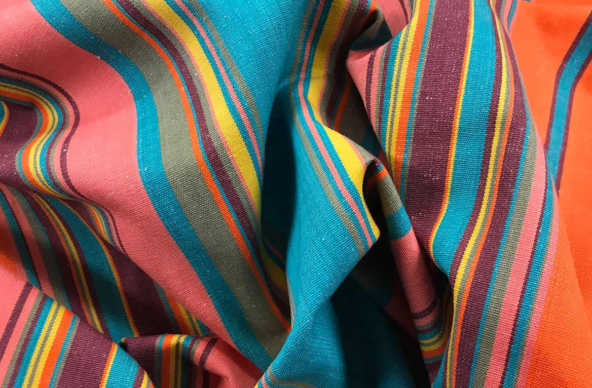 Turquoise and Salmon Pink Striped Fabric