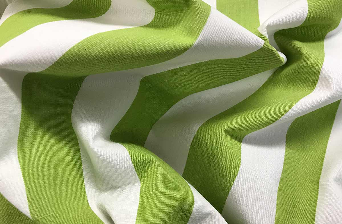 Lime Green and White Striped Fabric - Table Tennis Stripe