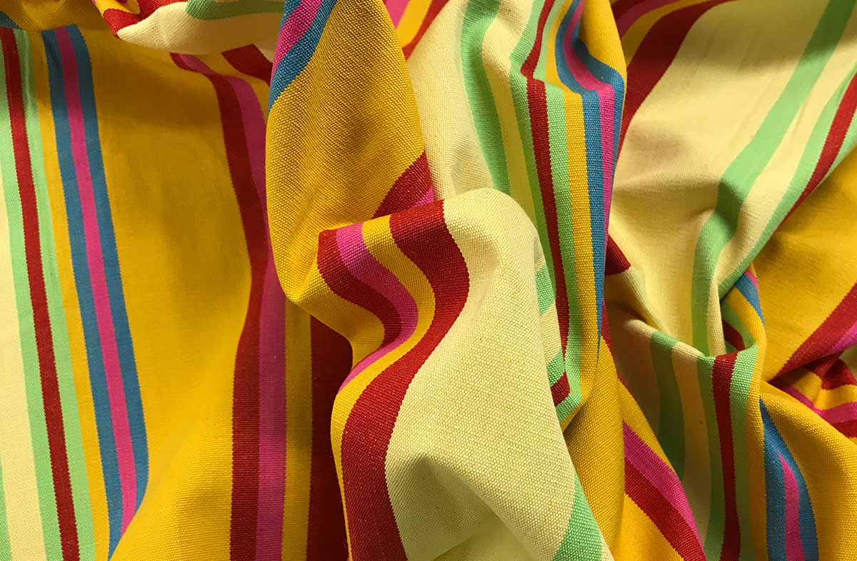 Pale Yellow Striped Fabric - Volleyball Stripe