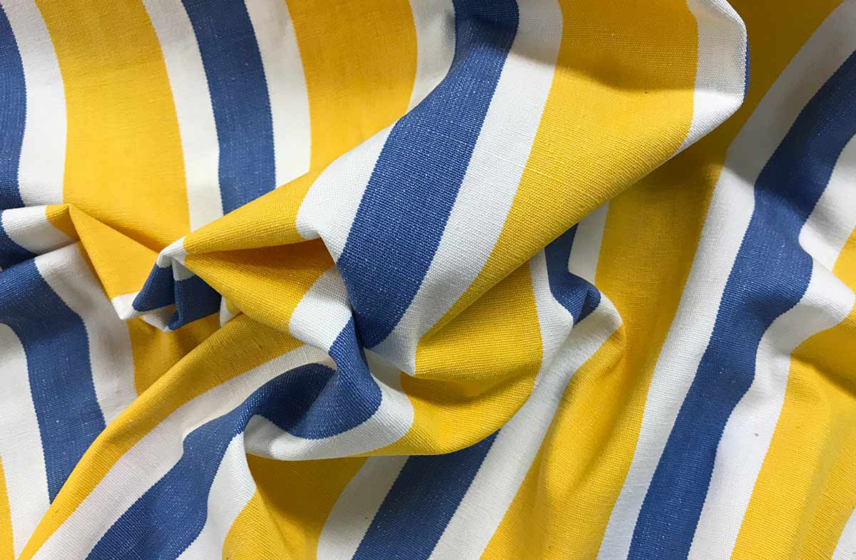 Yellow, Blue and White Striped Fabric
