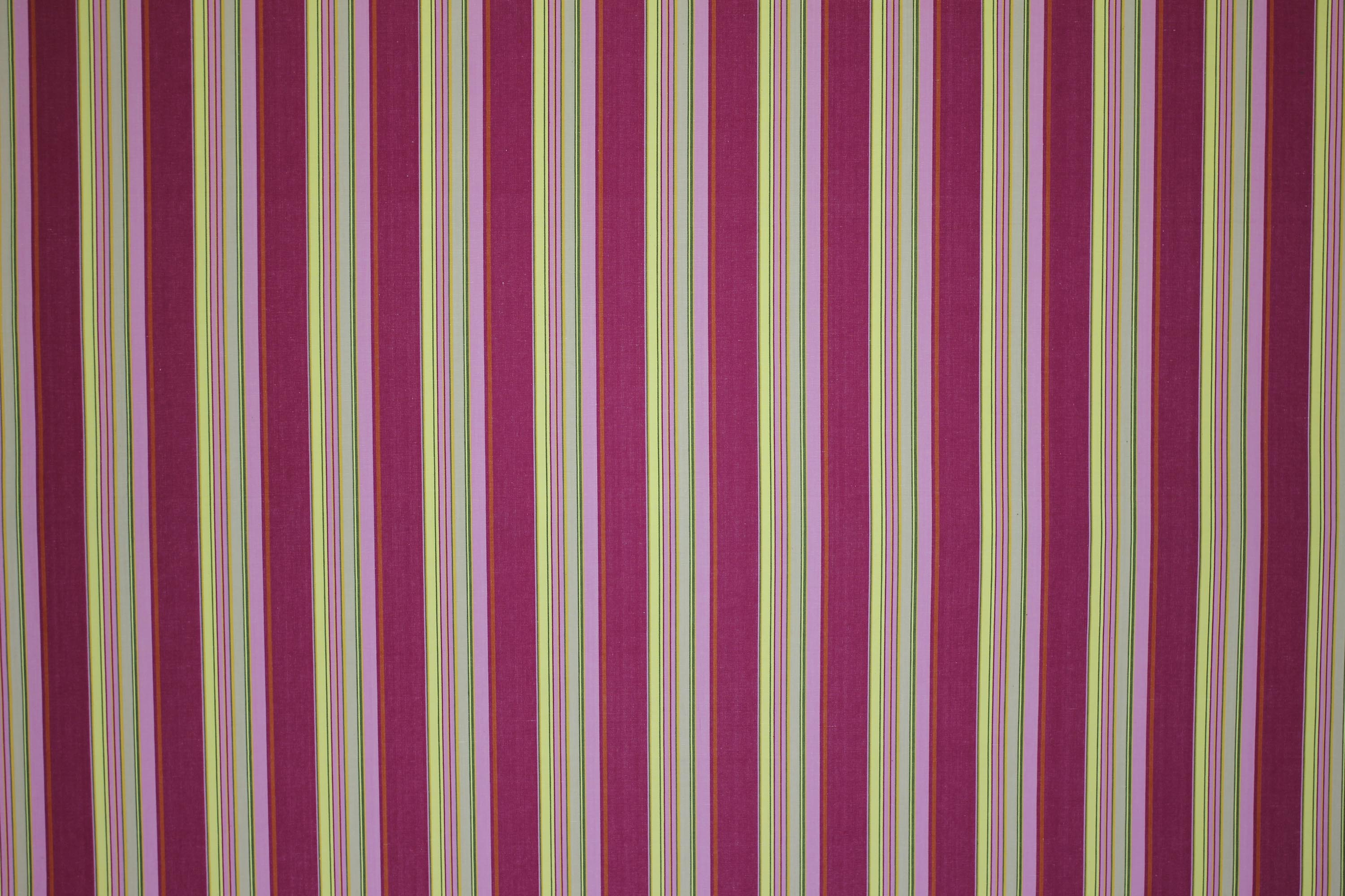 Bright Pink Striped Material With Lemon Yellow Pale Green Stripes