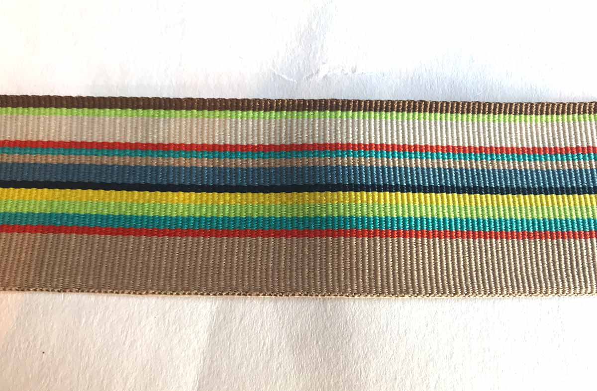 Striped Grosgrain Ribbon beige, ivory, slate blue