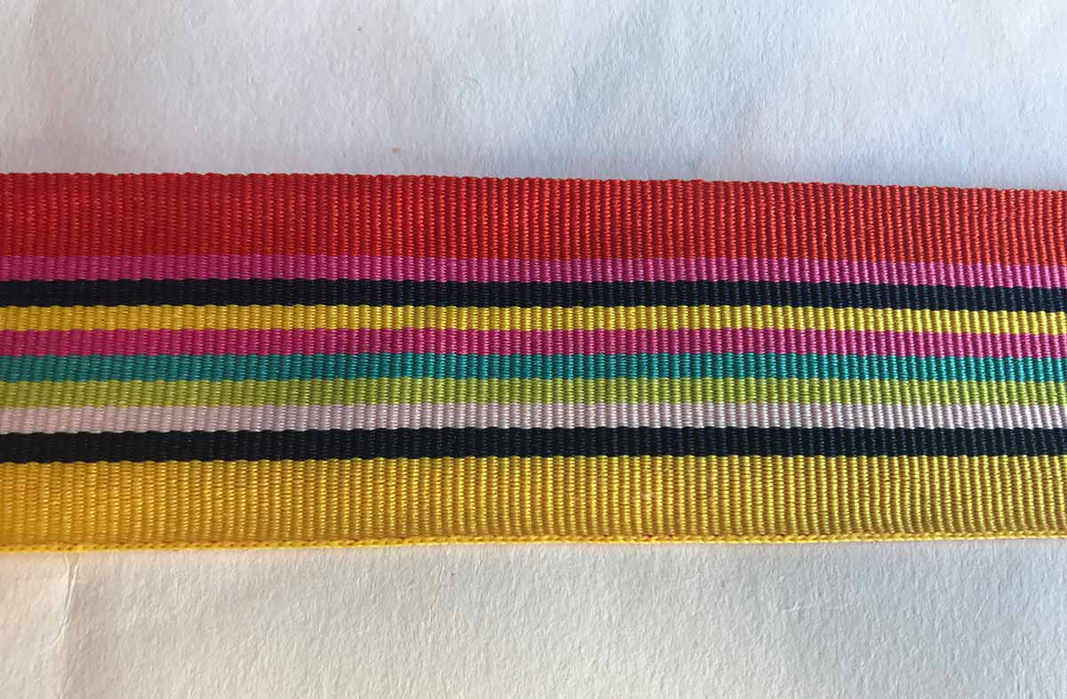 Yellow and Coral Stripe Grosgrain Ribbon