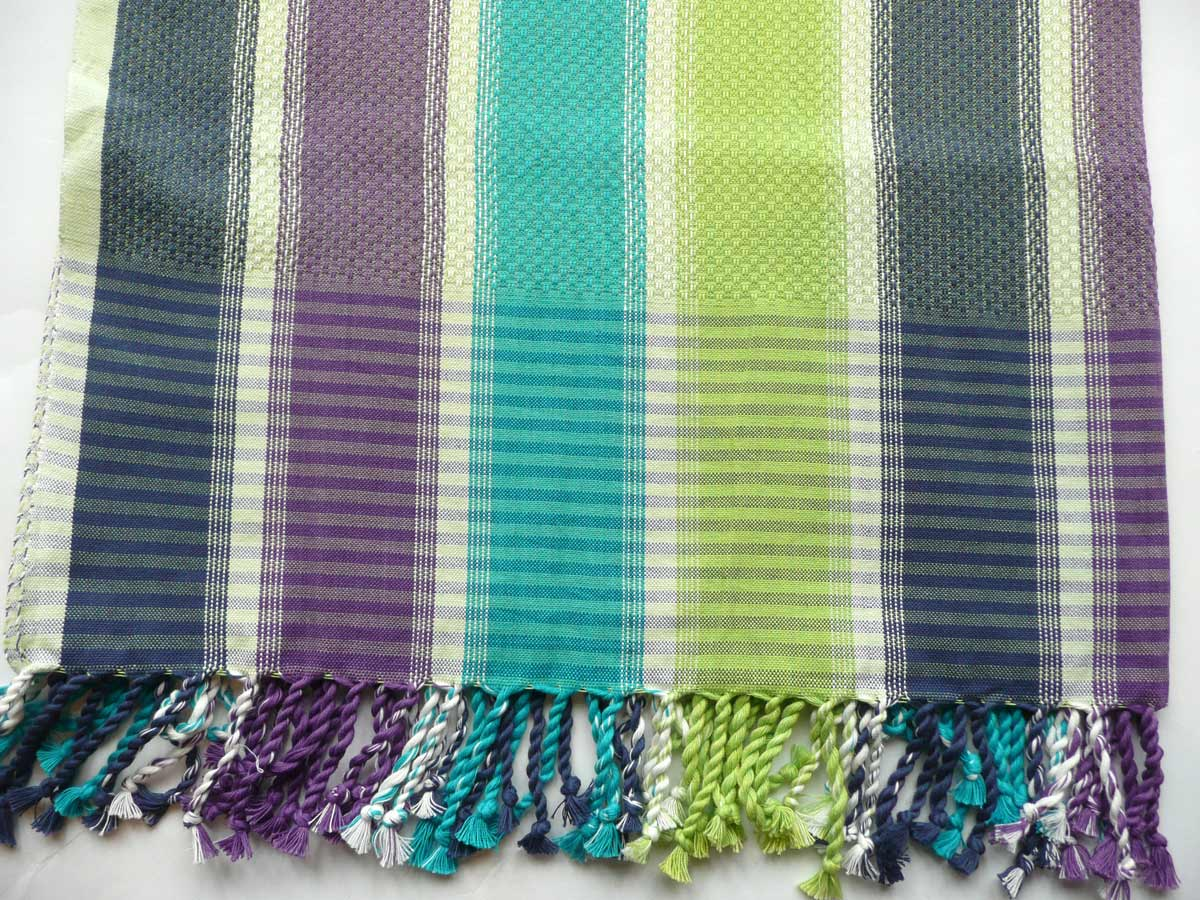 Striped Hammam Towels Lime Green, Turquoise, Navy, Purple White Stripes