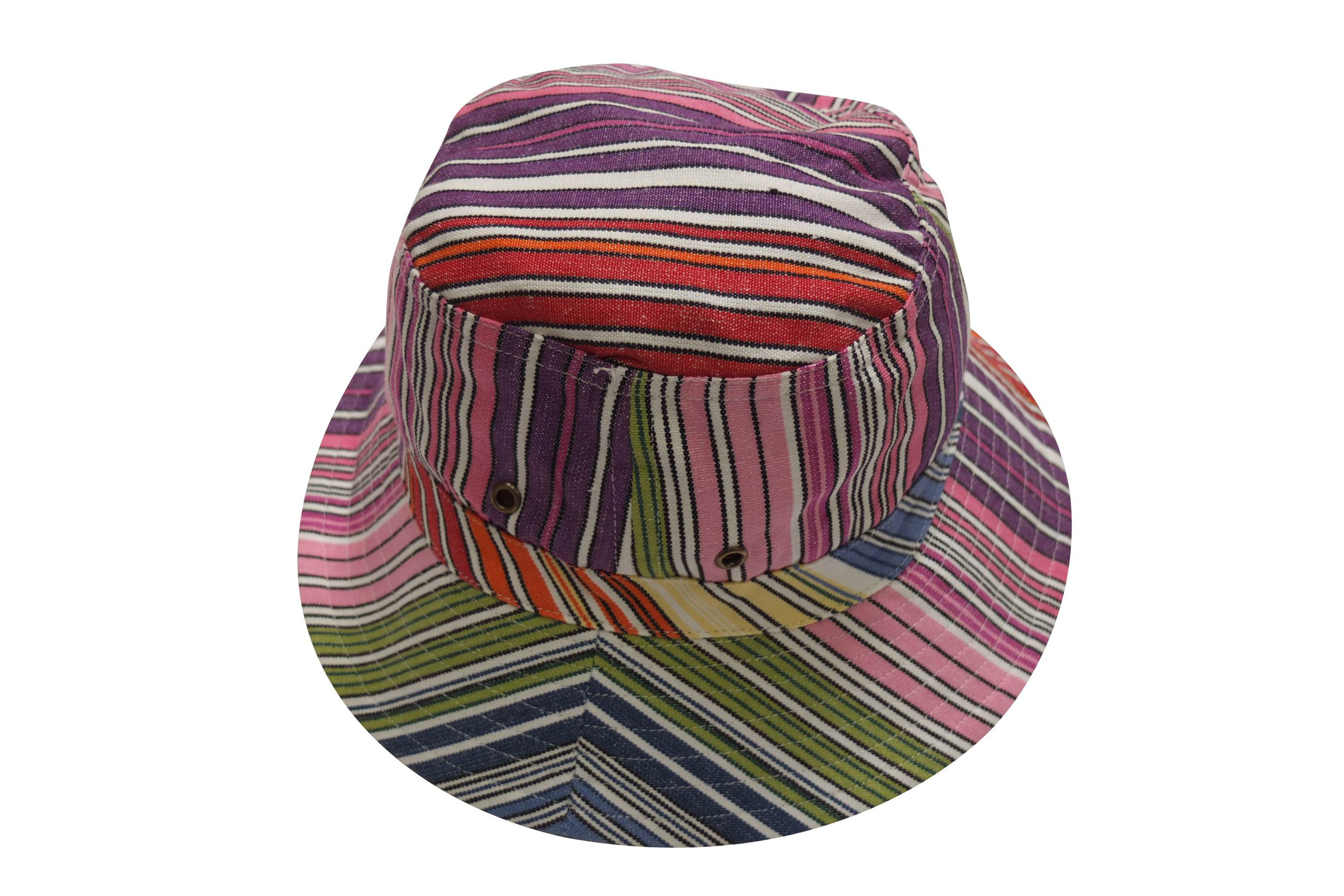 Pink Multi Striped Sun Hats | Bucket Hat - Rhumba Stripe