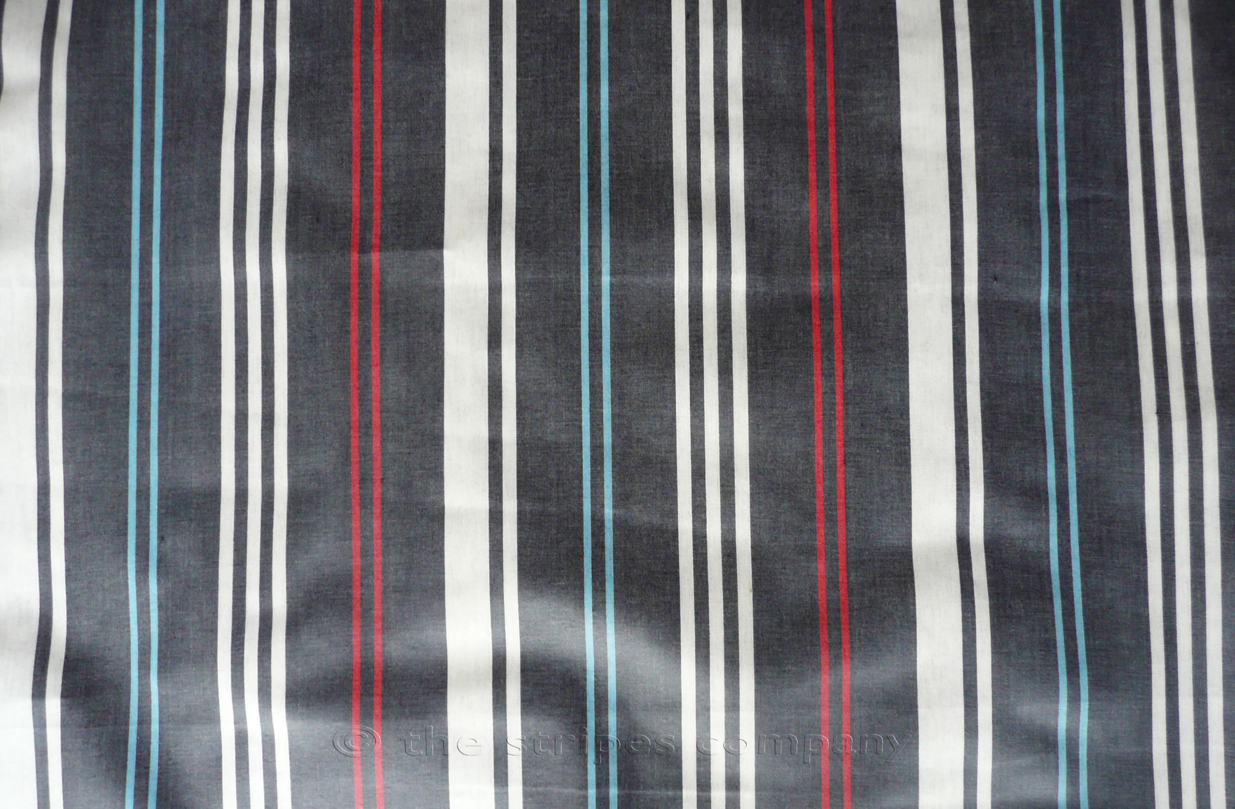 Navy Blue Striped Oilcloth Fabrics | PVC Wipeable Stripe Fabrics Cake Walk Stripes