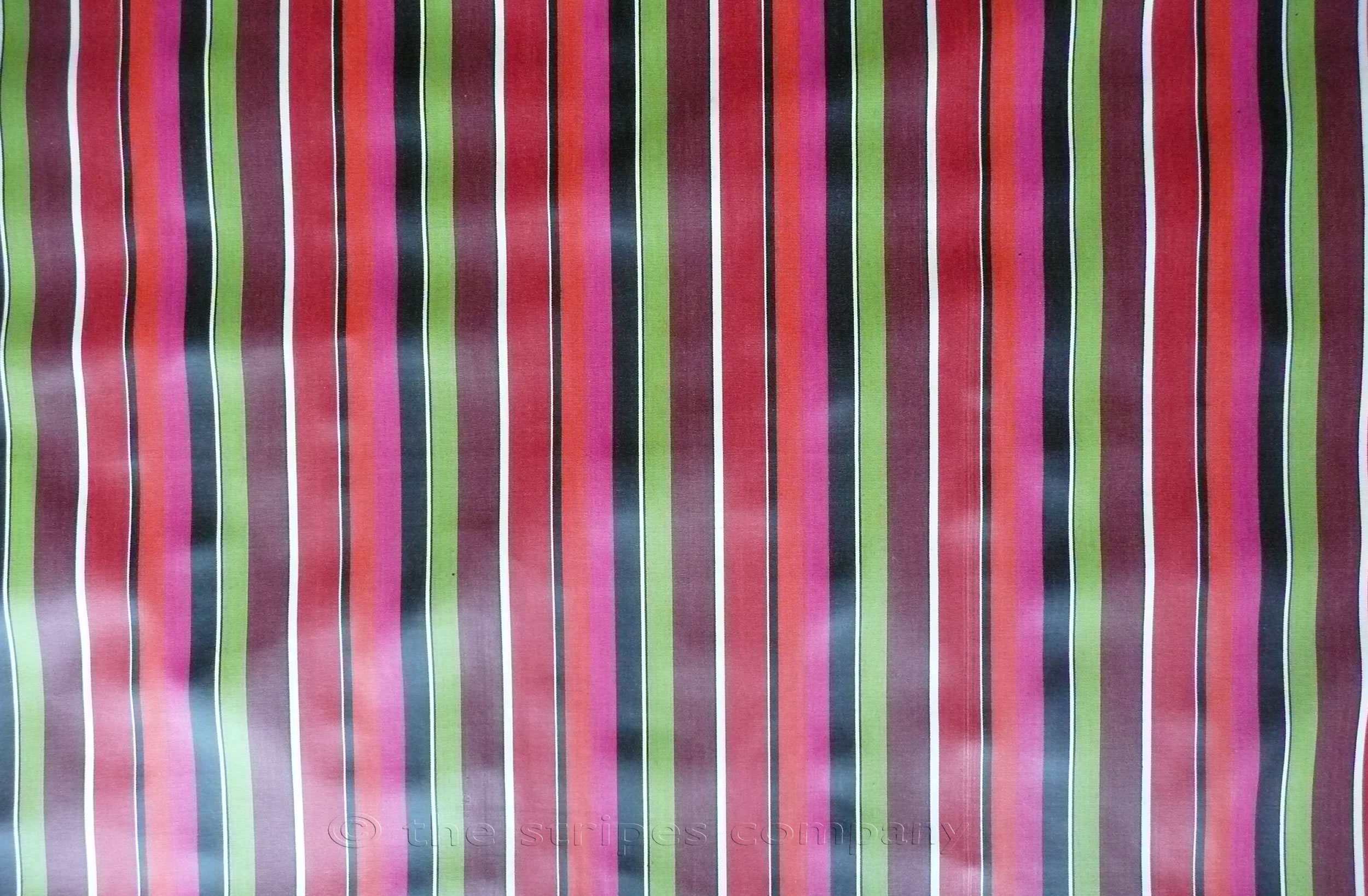 Pink, Coral, Black, Lime Green Striped Oilcloth Fabric | PVC Wipeable Fabrics