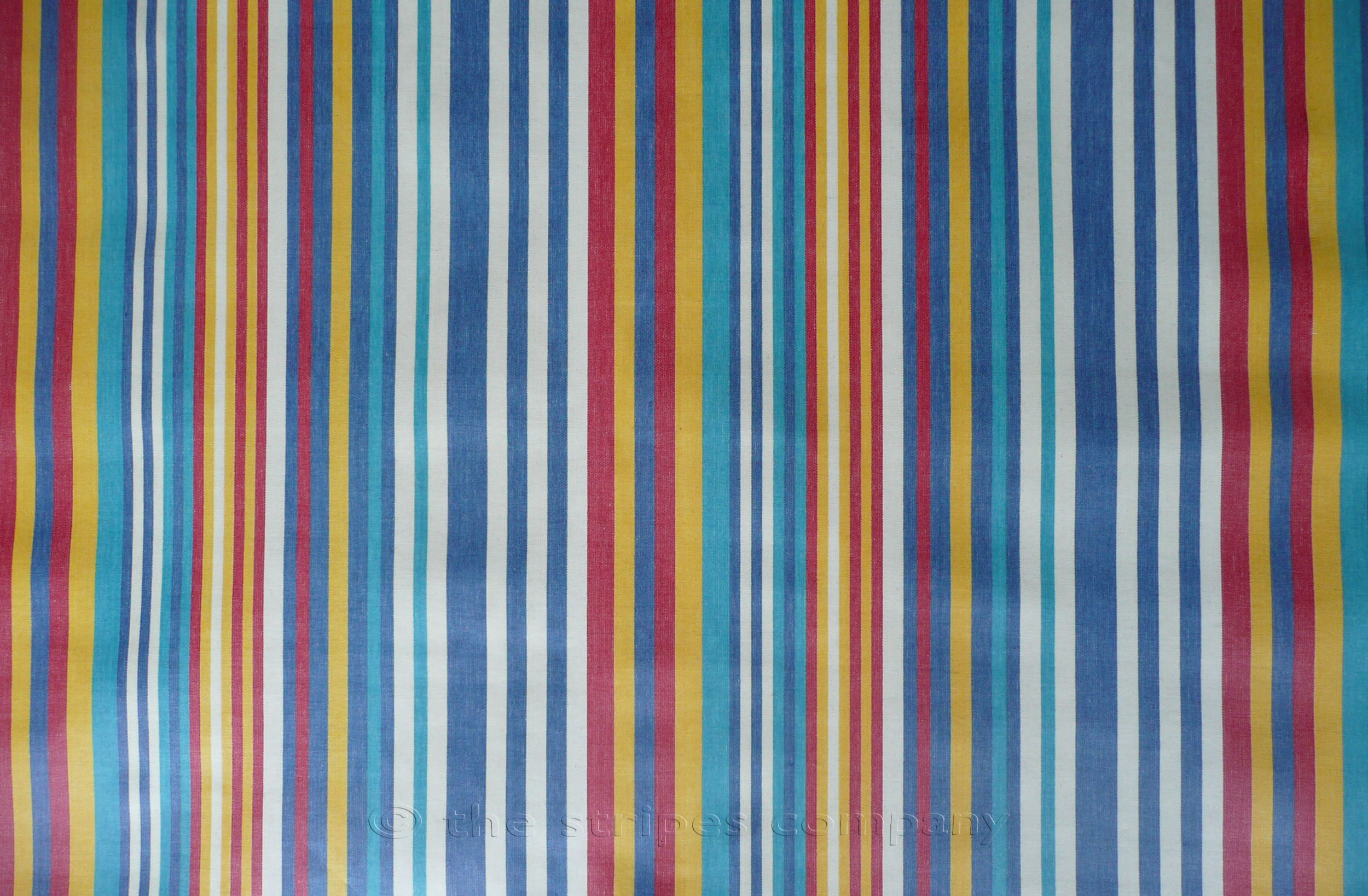 Denim Blue Stripe PVC Oilcloth Fabrics | Wipeable Stripe Fabrics - Marathon Stripes