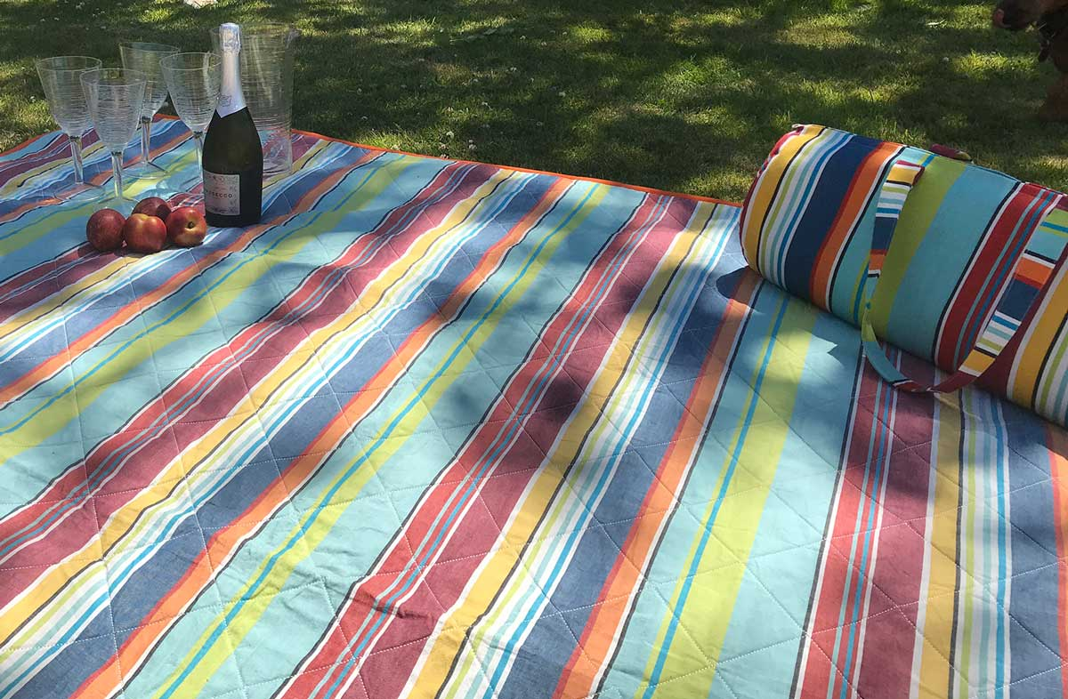 Bright Fun Striped Picnic Blanket with Carry Bag