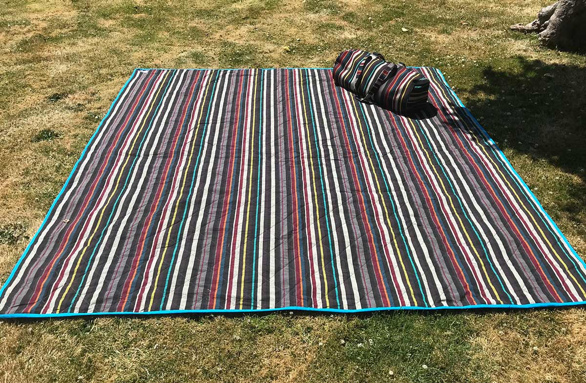 Multi Striped Roll Up Picnic Mat with Carry Bag  - black, beige, brown  stripes