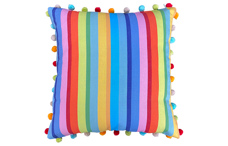 Tangerine, Pink and Turquoise Striped Pompom Cushions 50x50cm