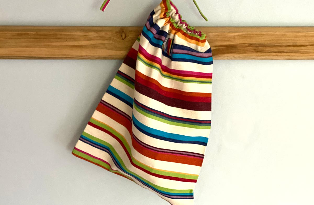 Multicoloured Striped Shoe Bag