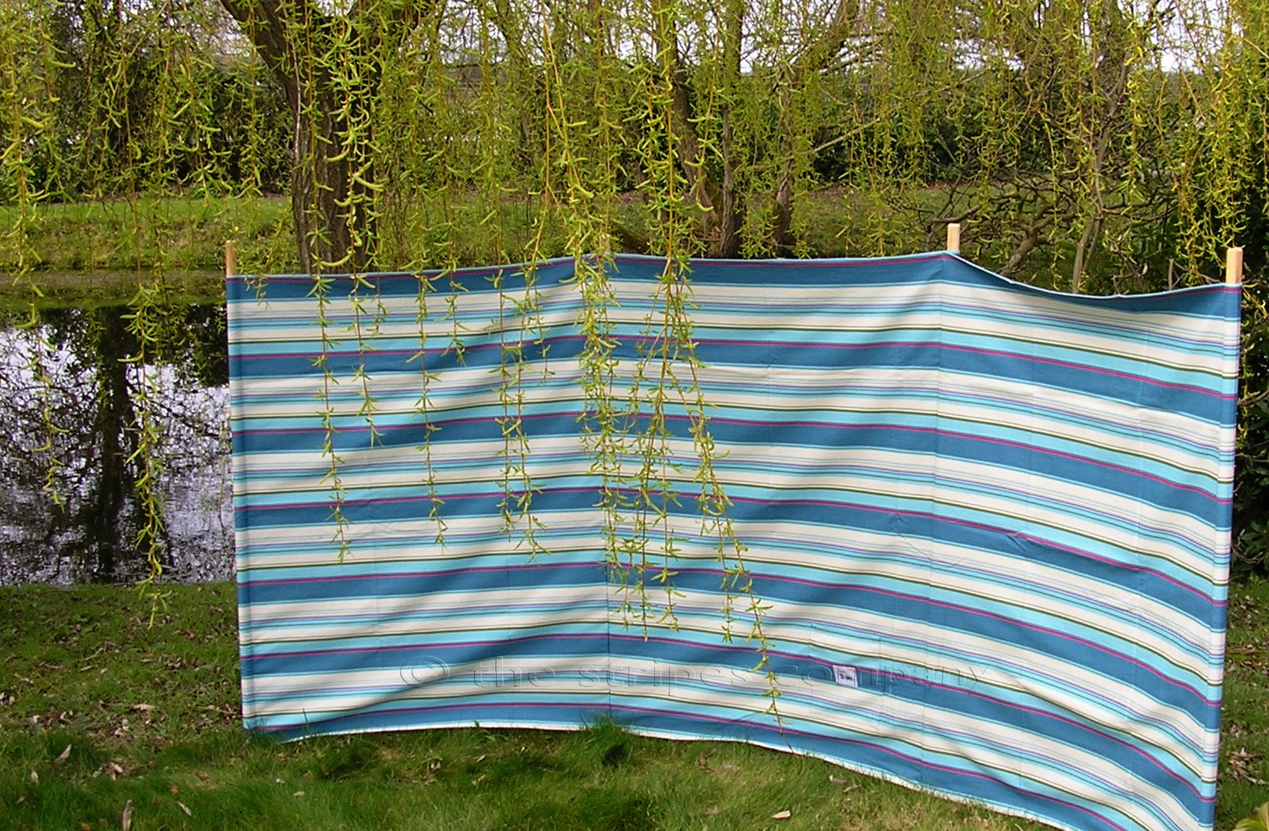 Petrol Blue Striped Windbreaks with 4 poles  Petrol Blue  Pale Blue  Cream  Stripes