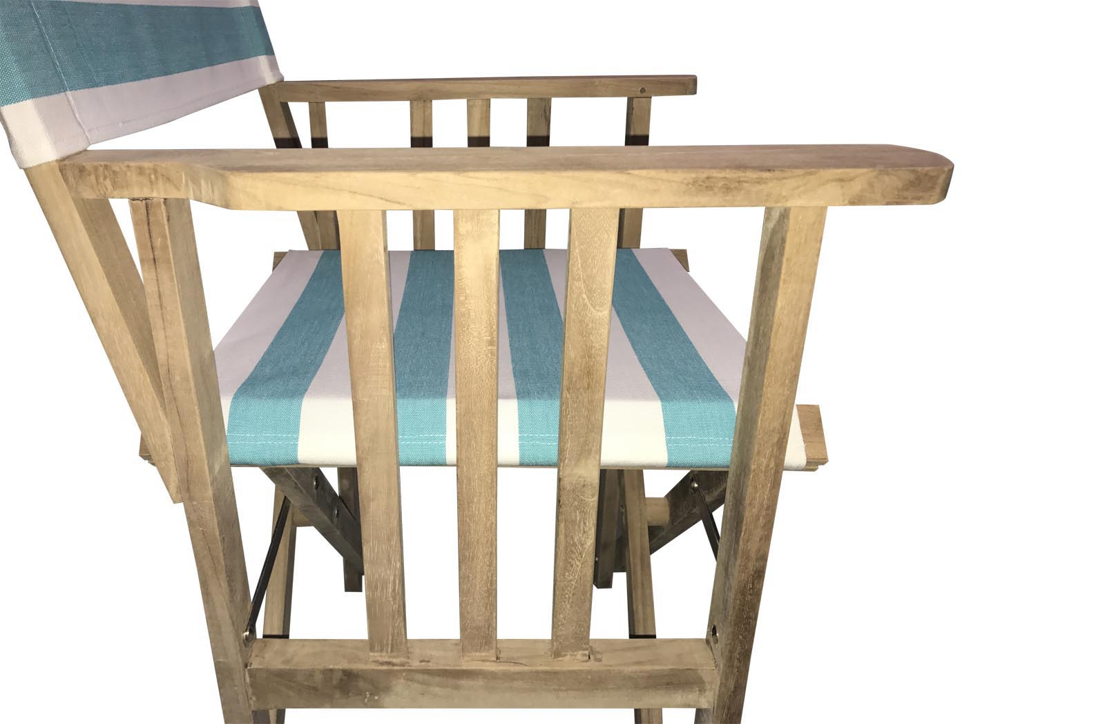 Teak Directors Chair With Turquoise And White Striped Covers   Surfing  Stripe