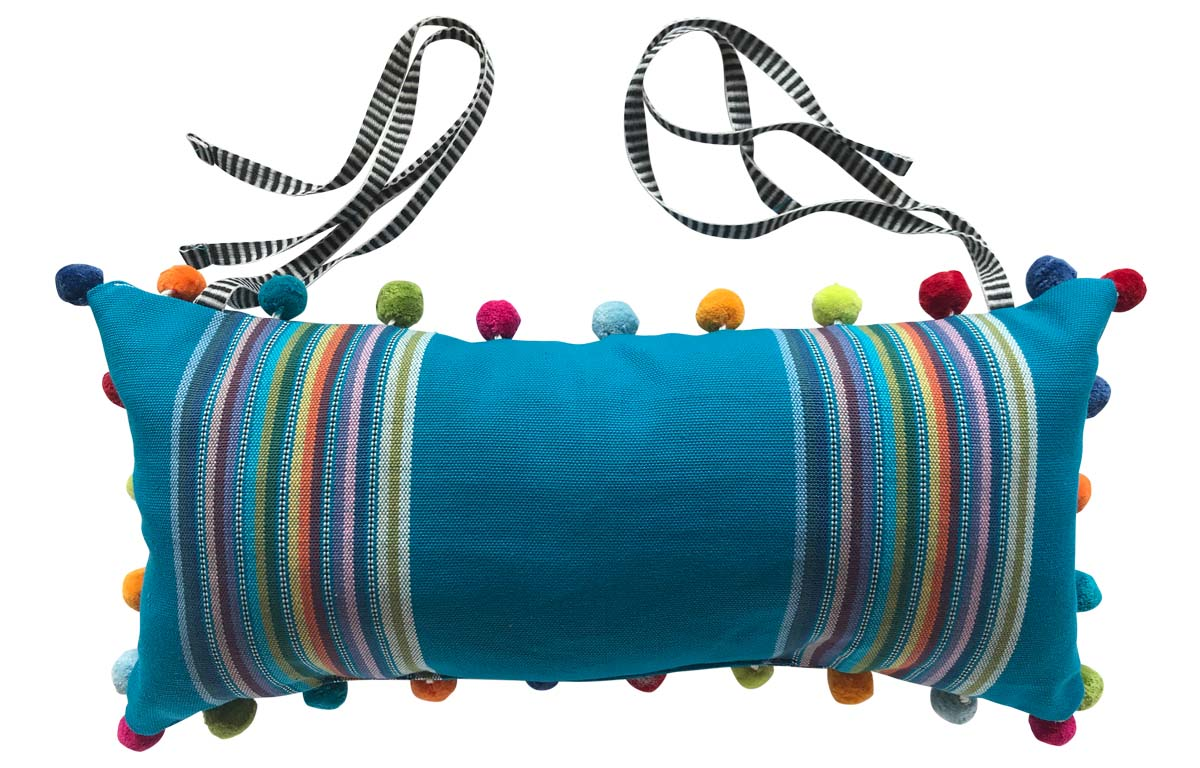 Dark Turquoise Stripe Deckchair Headrest Cushions | Tie on Pompom Headrest Pillow