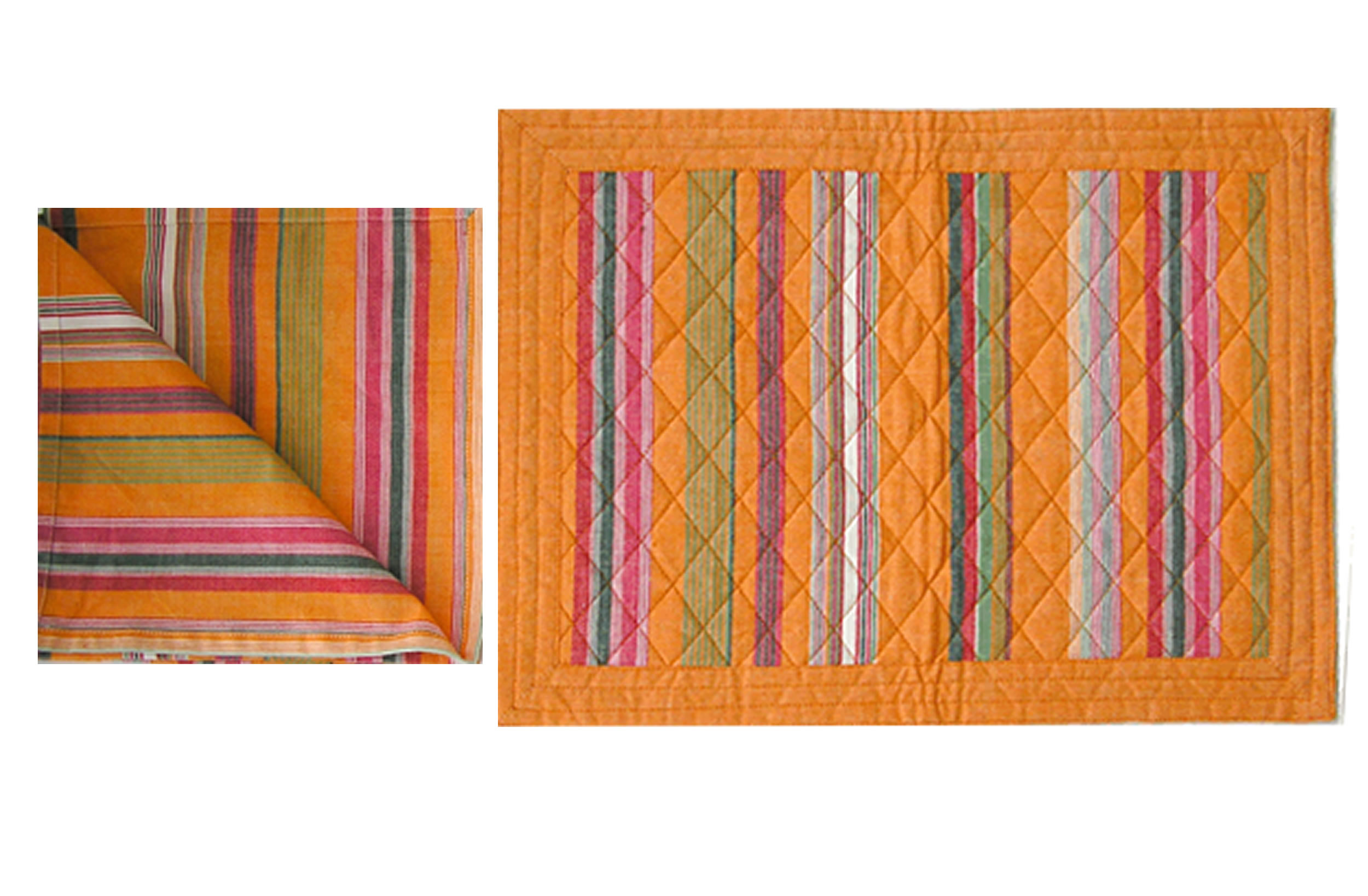 Orange Stripe Table Linen Mats and Napkins | Set of 4 Orange Place Mats and Napkins
