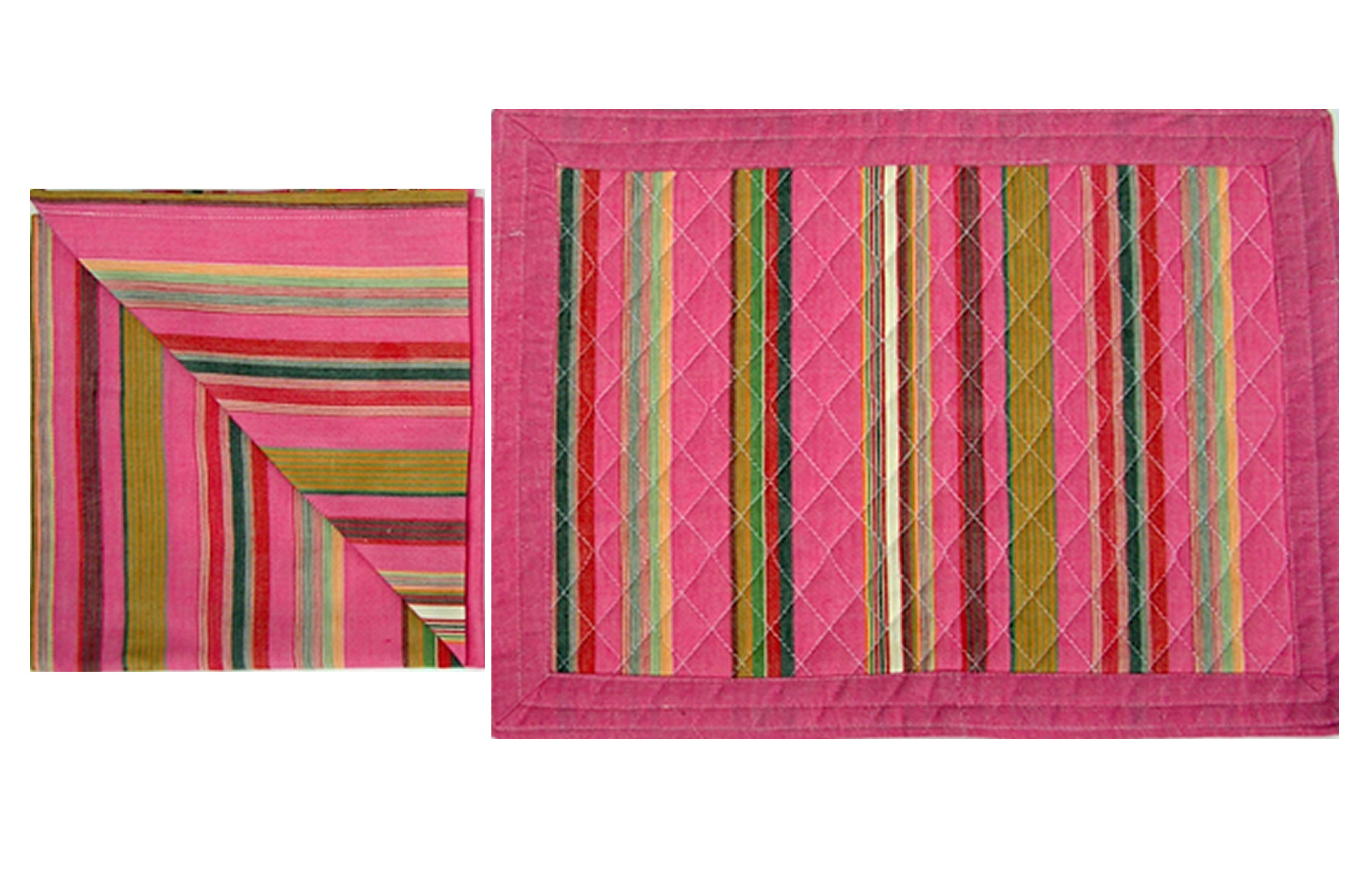Pink Striped Table Linen Sets | Set of 4 Pink Place Mats and Napkins