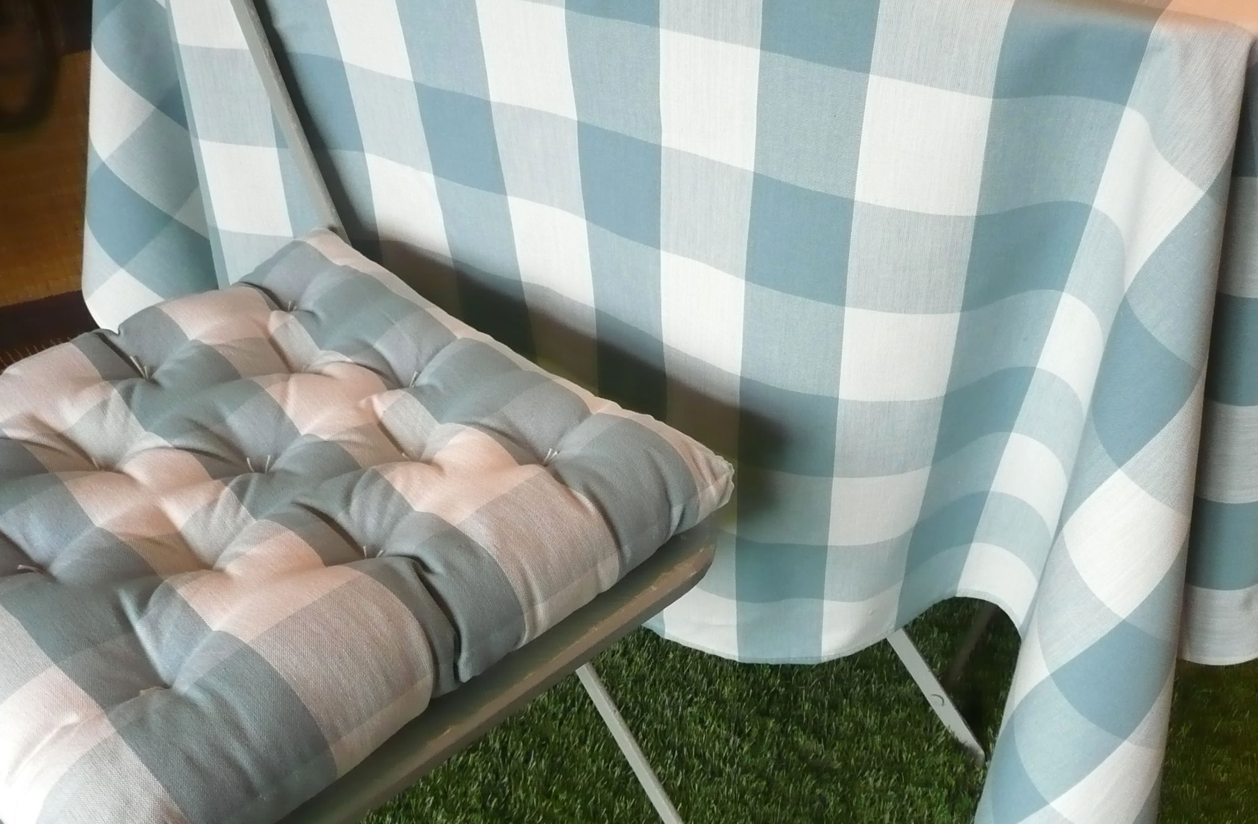 Teal and White Large Check Gingham Tablecloth