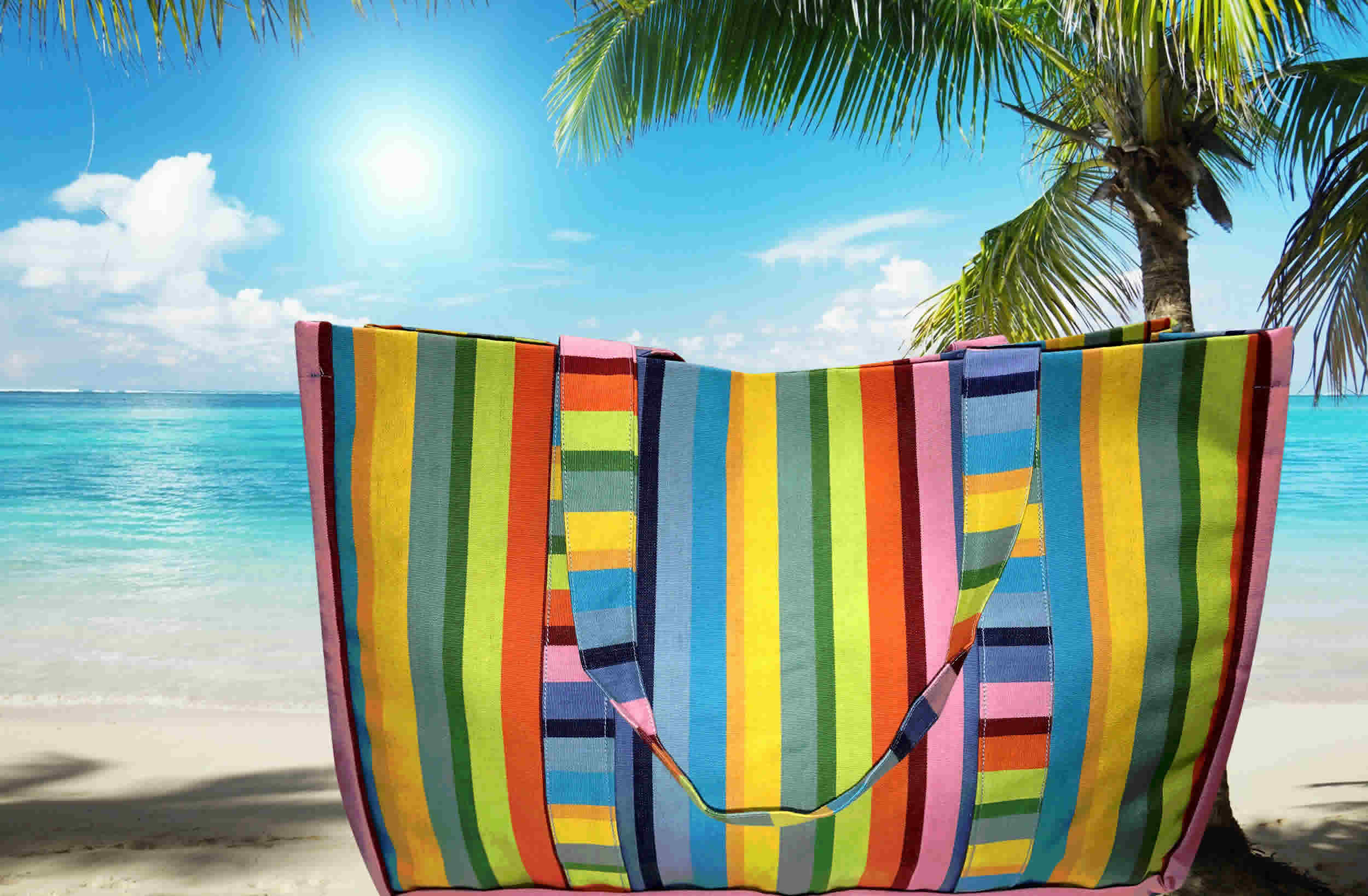Extra Large Beach Bags Rainbow Stripes
