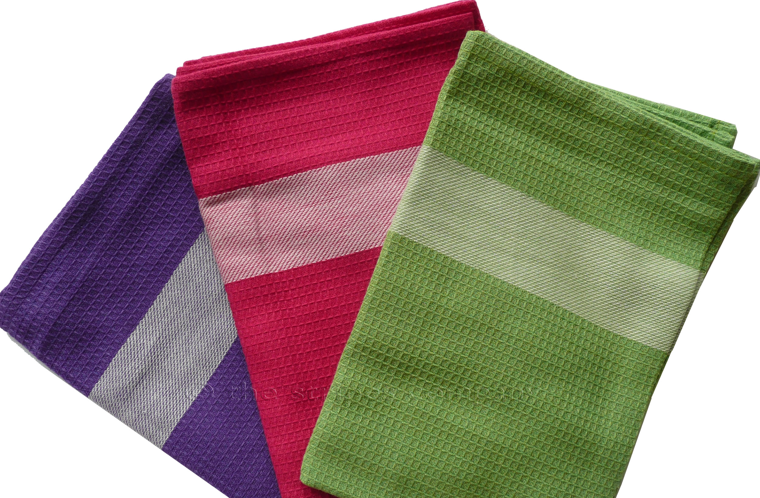 Set of Purple, Pink and Green Tea Towels