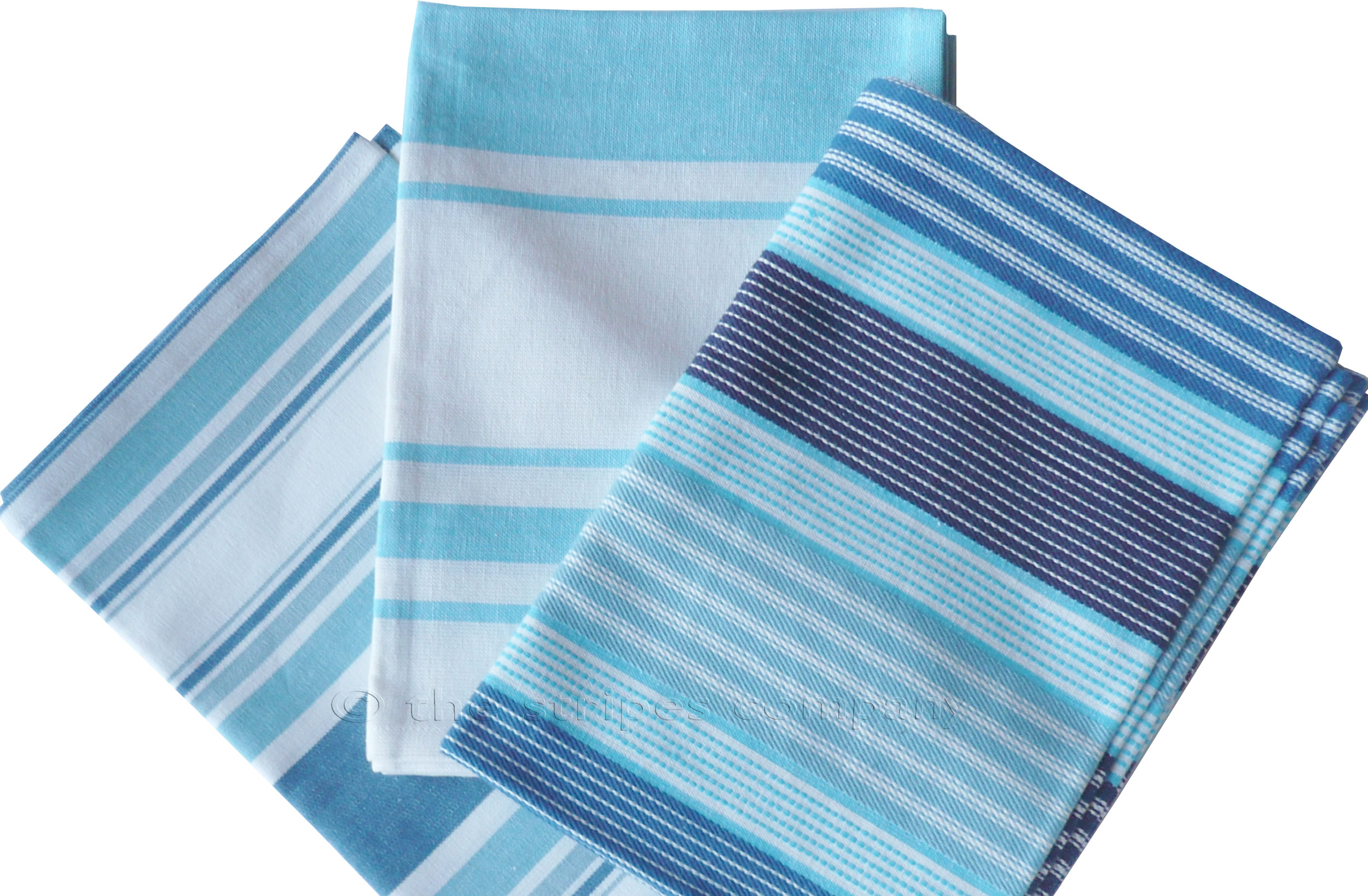 Turquoise  Striped Tea Towel Sets | Set of 3 Teatowels Turquoise Stripes