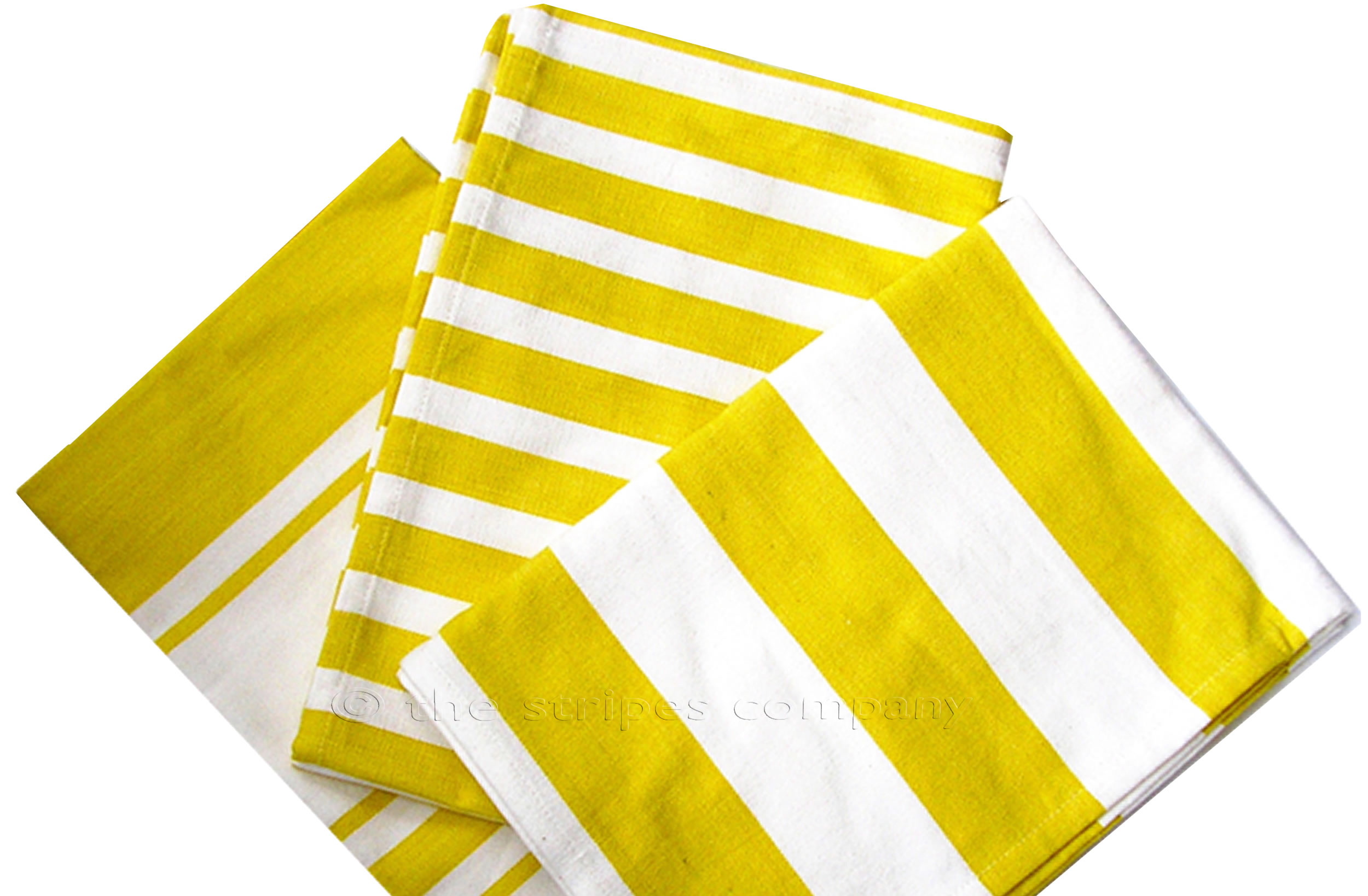 Yellow And White Striped Tea Towels Sets Of 3