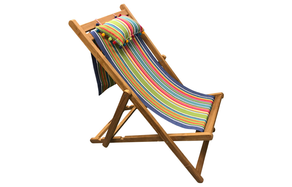 Teak Deckchair with Headrest and Pockets blue, green, red