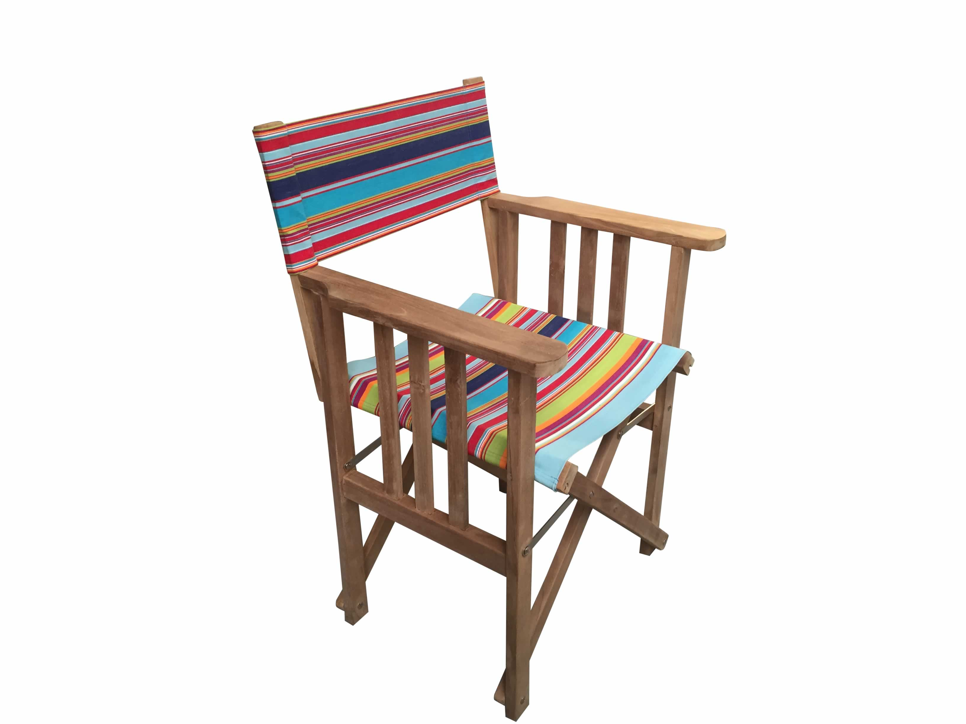 Teak Directors Chair - Flamenco Stripe