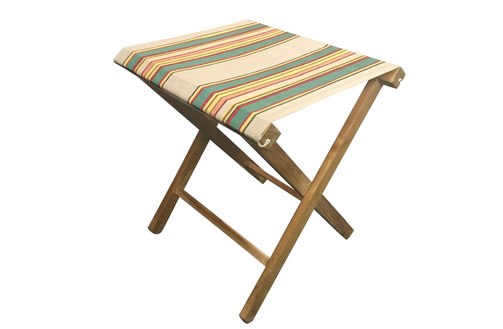 Portable Folding Stool with vintage look striped seat