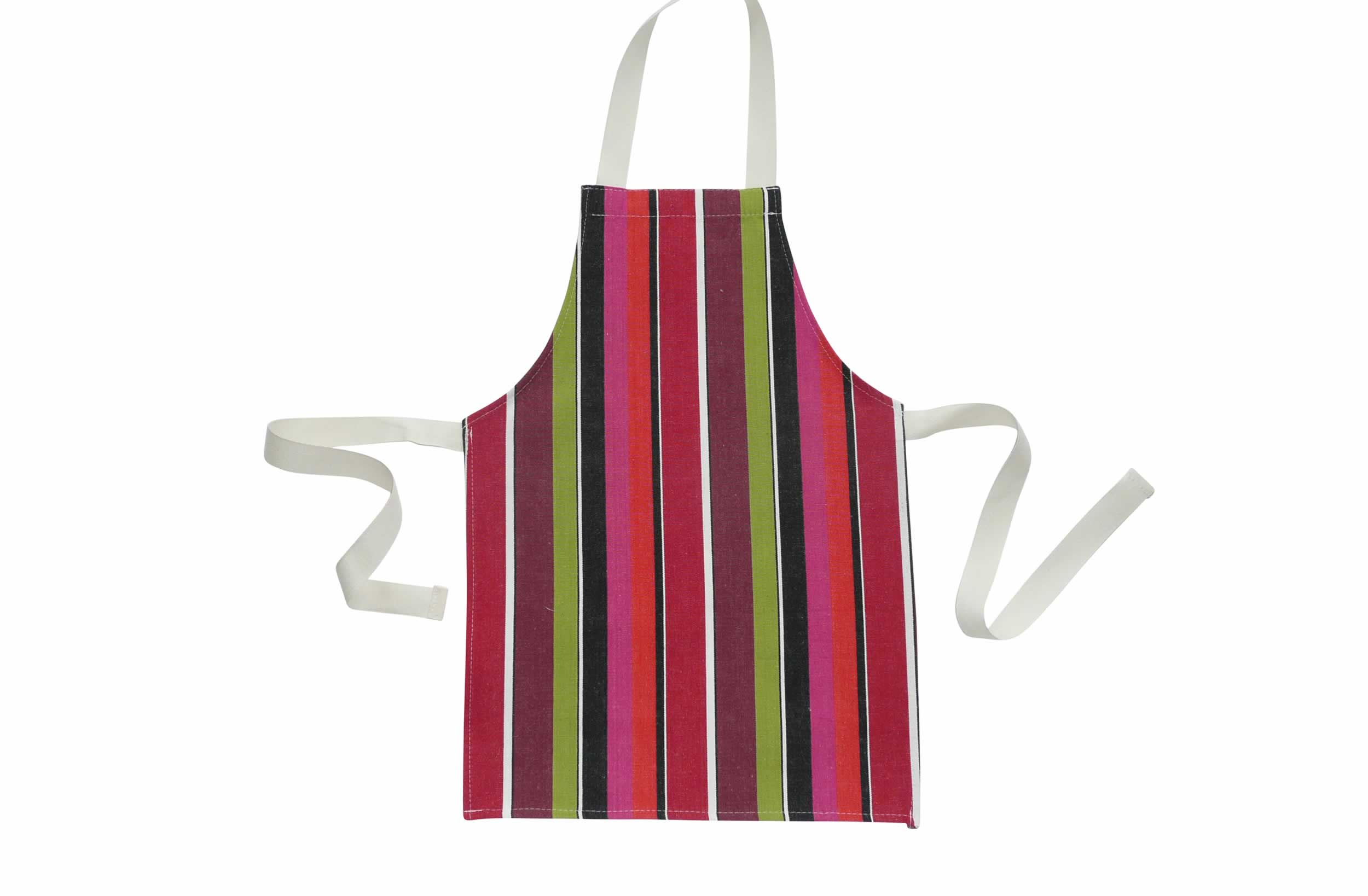 Toddlers Aprons - Striped Aprons For Small Children fuschia, coral, black