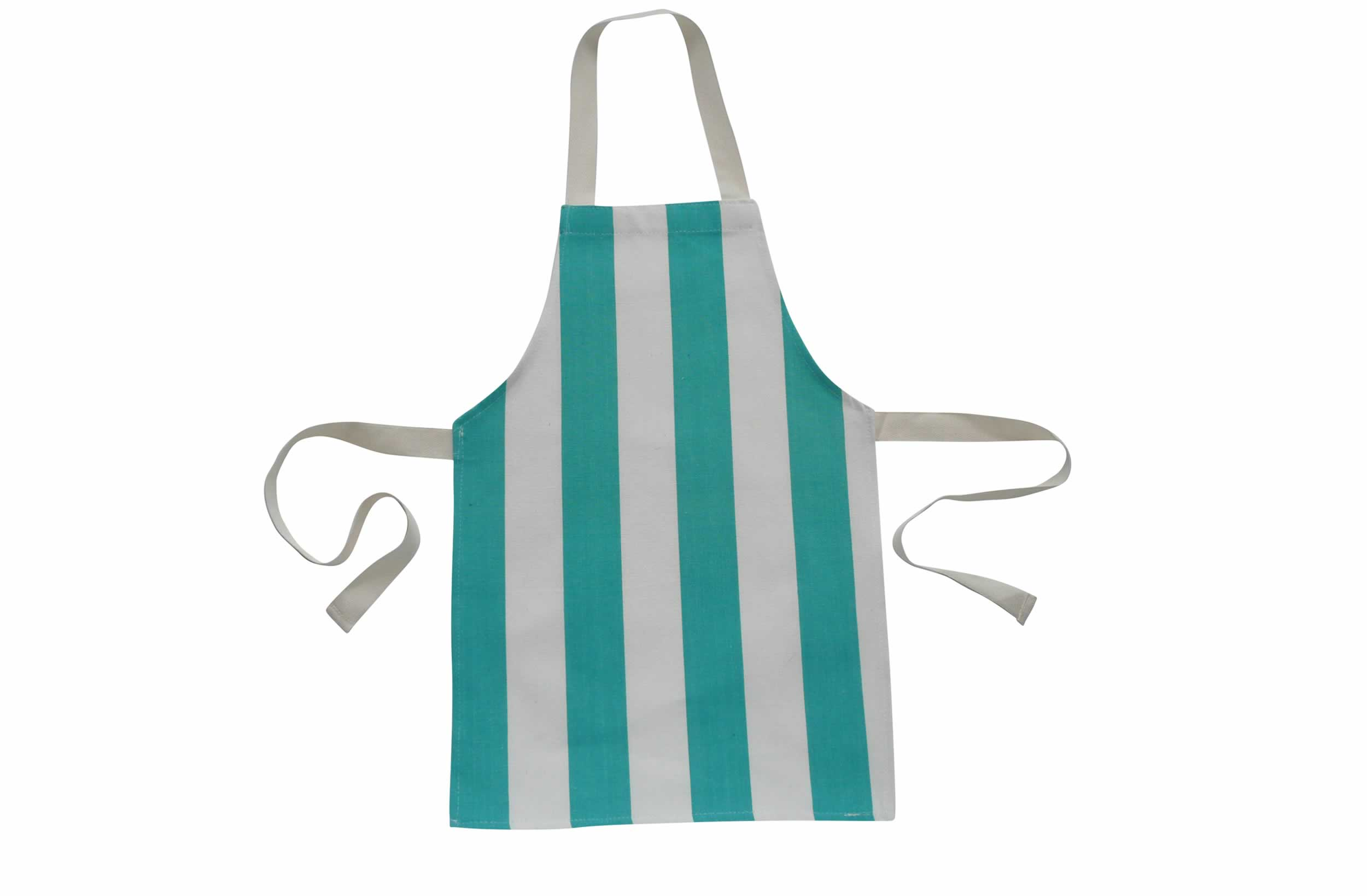 Turquoise and White Striped Toddler Aprons