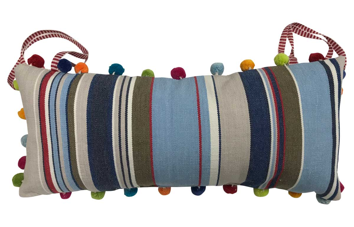 Blue, Beige and Red Stripe Tie on Headrest Cushions for Deck Chairs - Trapeze Stripe