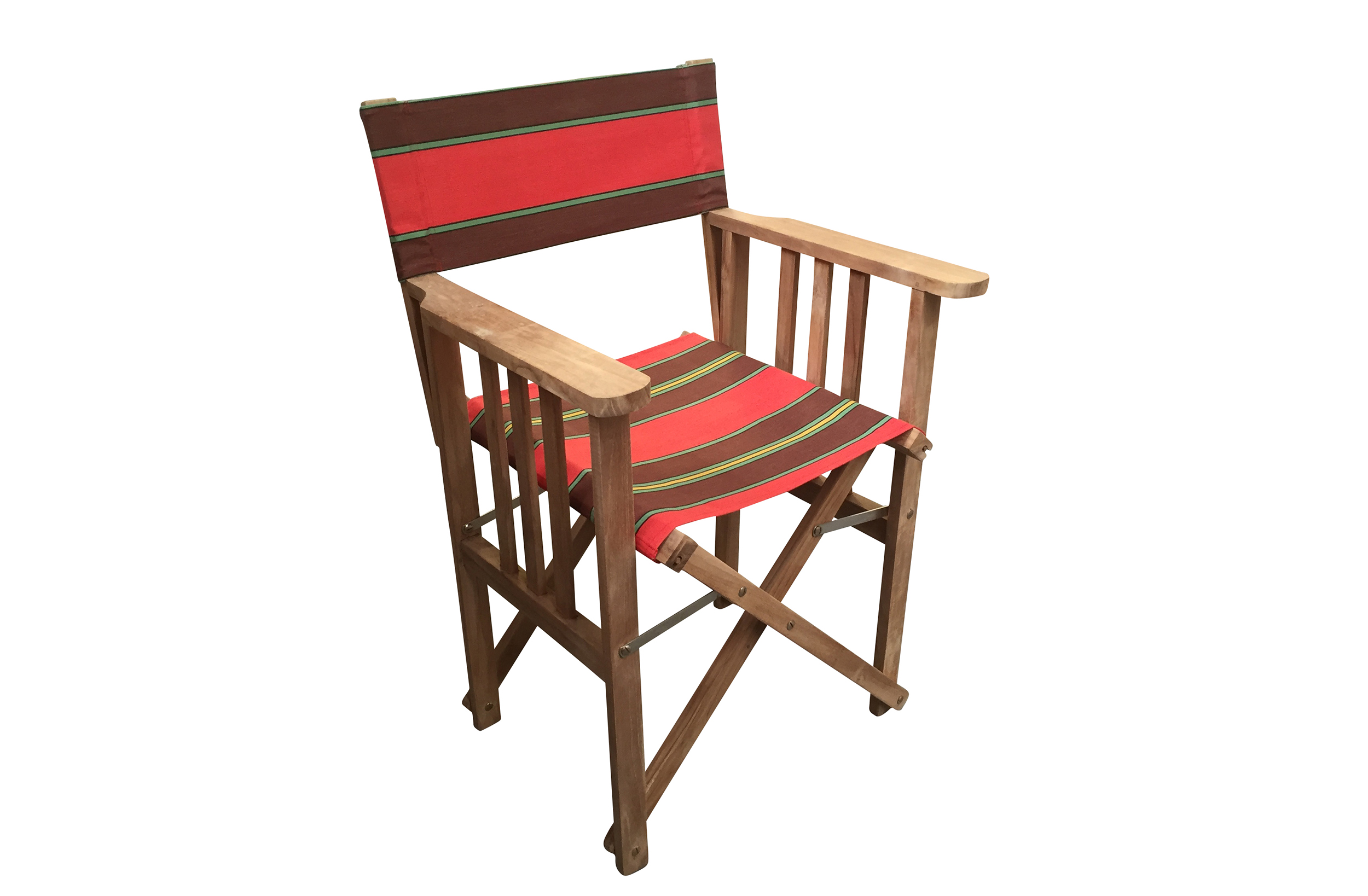 Teak Directors Chair - Triathlon Red Stripe
