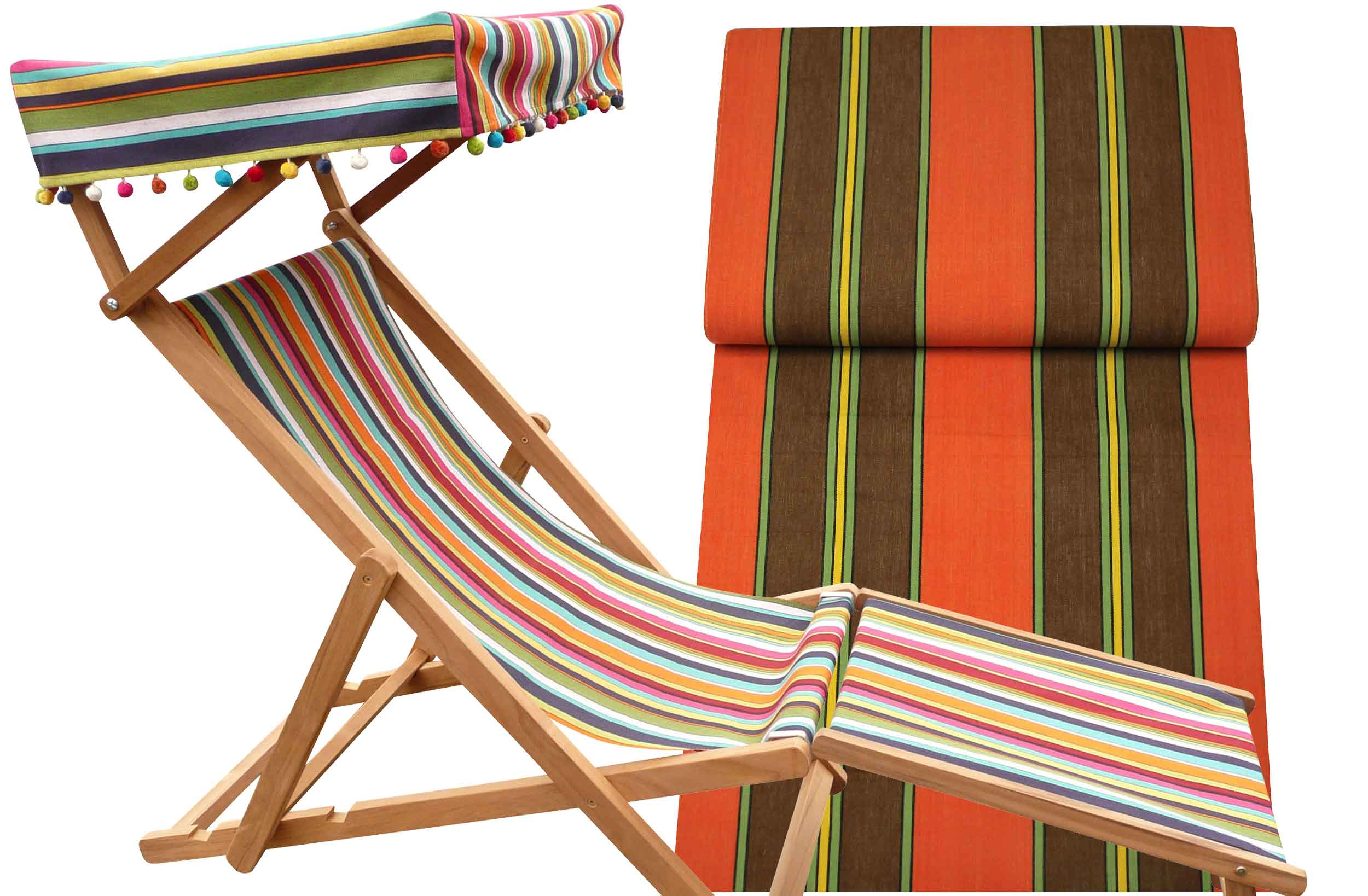 Edwardian Deckchairs with Canopy and Footstool red, green, brown