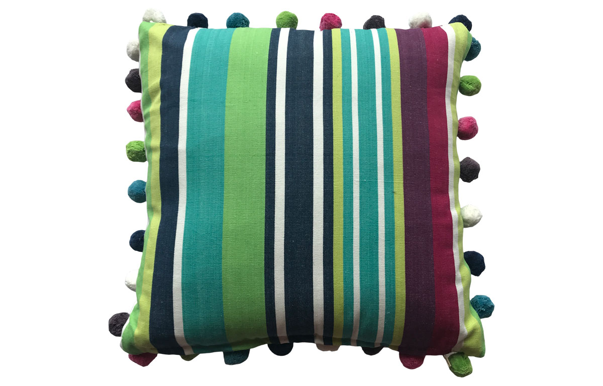 Navy, Turquoise and Lime Striped Pompom Cushions 50x50cm