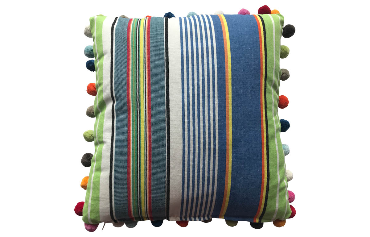 50x50cm Striped Pompom Cushions bright blue, denim blue, lime green