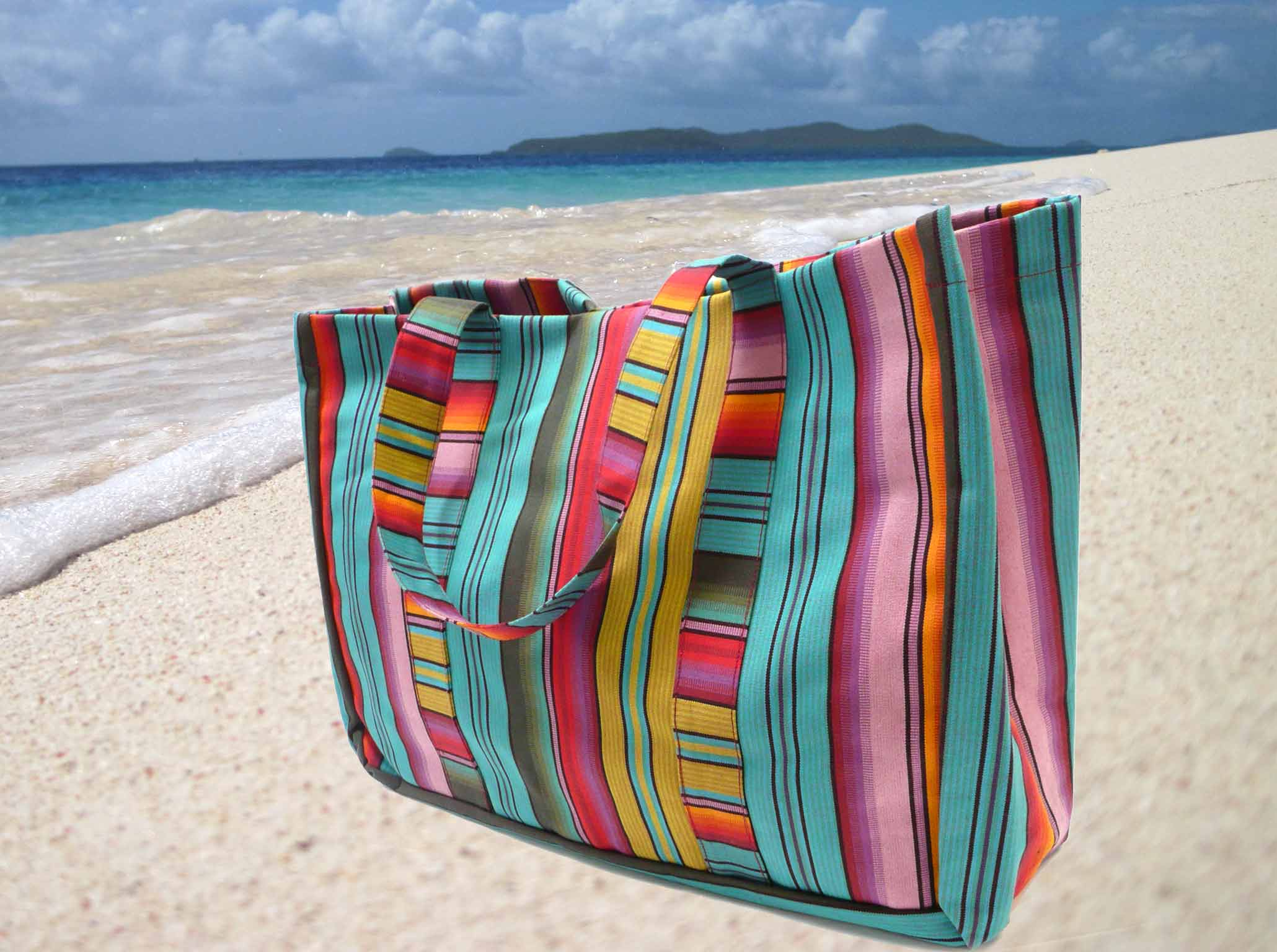 Turquoise Striped Beach Bag The Stripes Company United