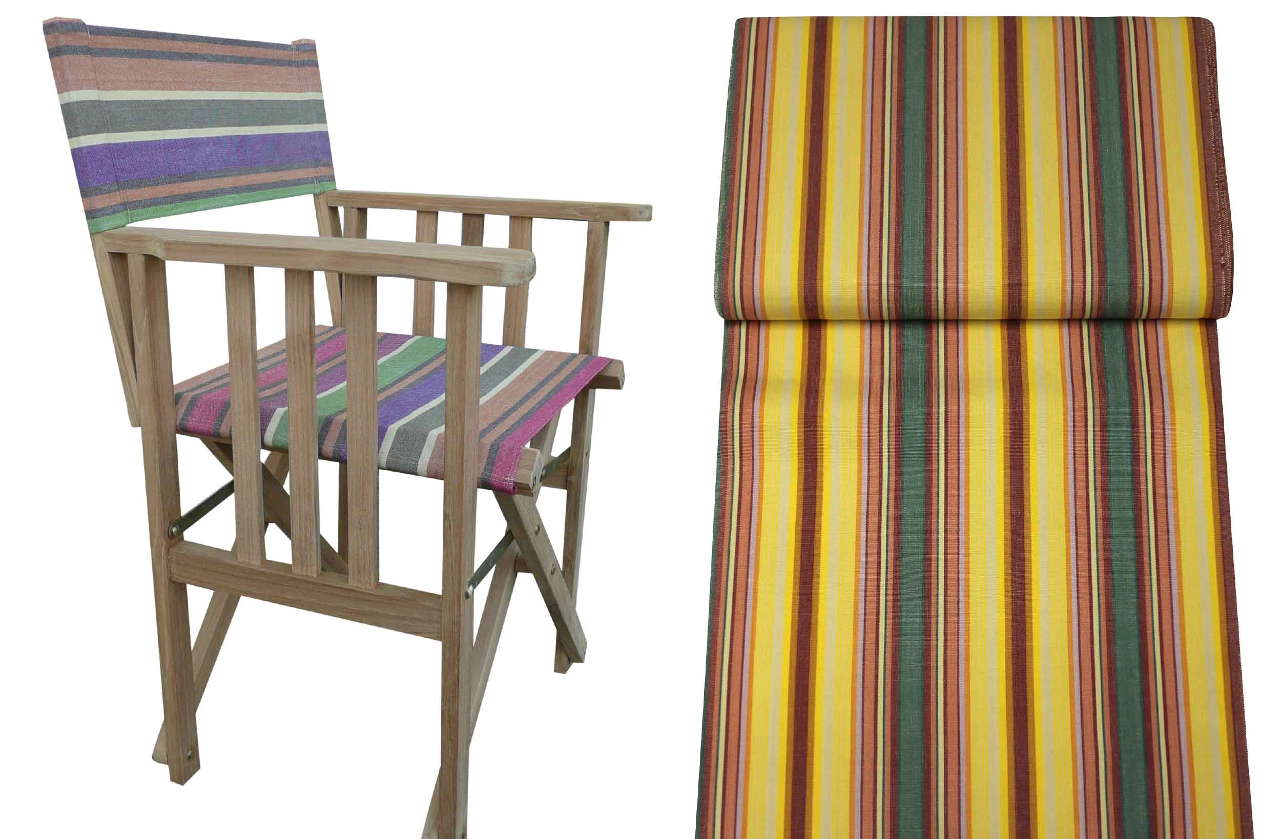 Teak Directors Chair - Waltzing Stripe