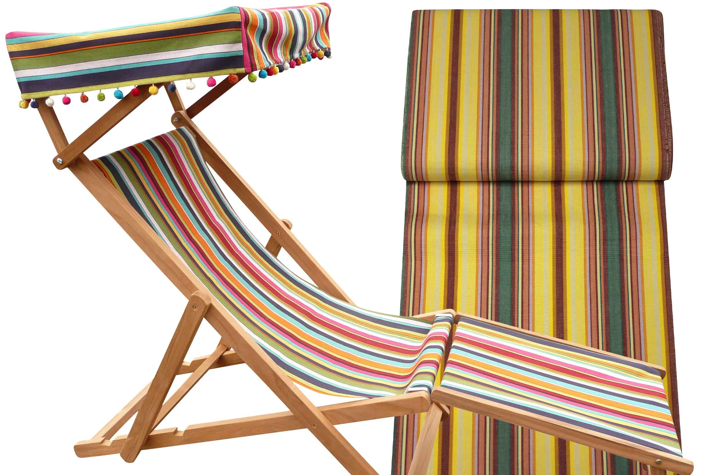 Edwardian Deckchairs with Canopy and Footstool yellow, pink, green