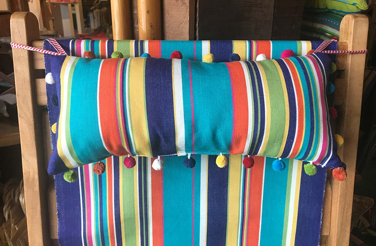 Yachting Stripe Deckchair Headrest Cushions | Headrest Pillow turquoise, pale green, royal blue