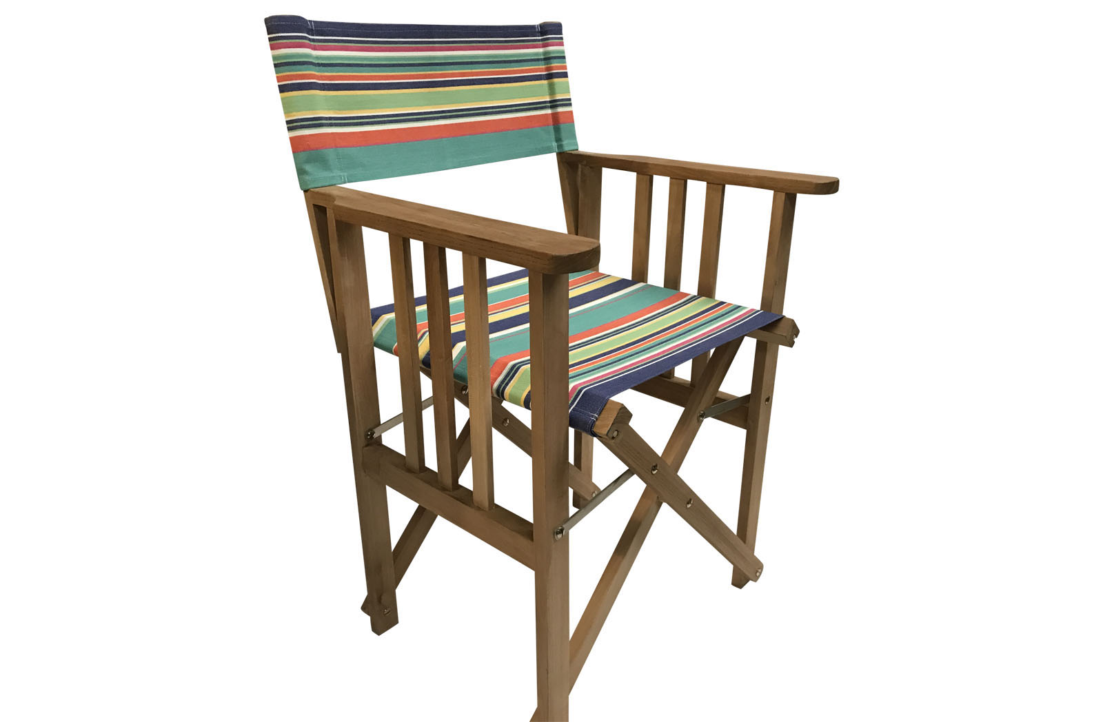Teak Directors Chair - Yachting Stripe