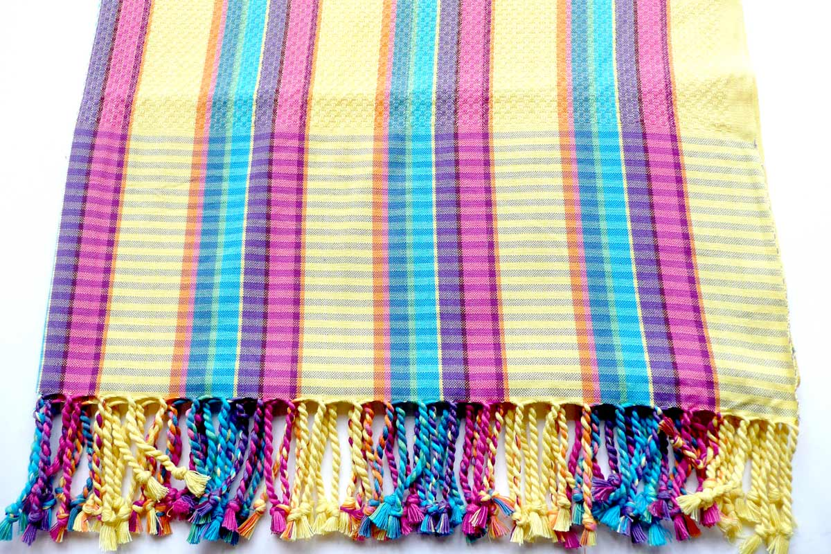 Yellow Striped Hammam Towels | Lightweight Yellow Stripe Beach Towels