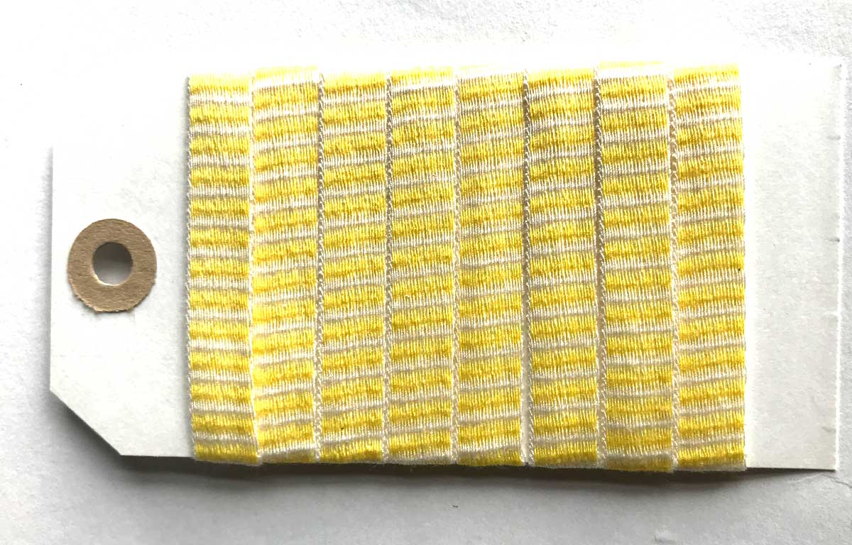 Yellow and White Striped Woven Cotton Tape