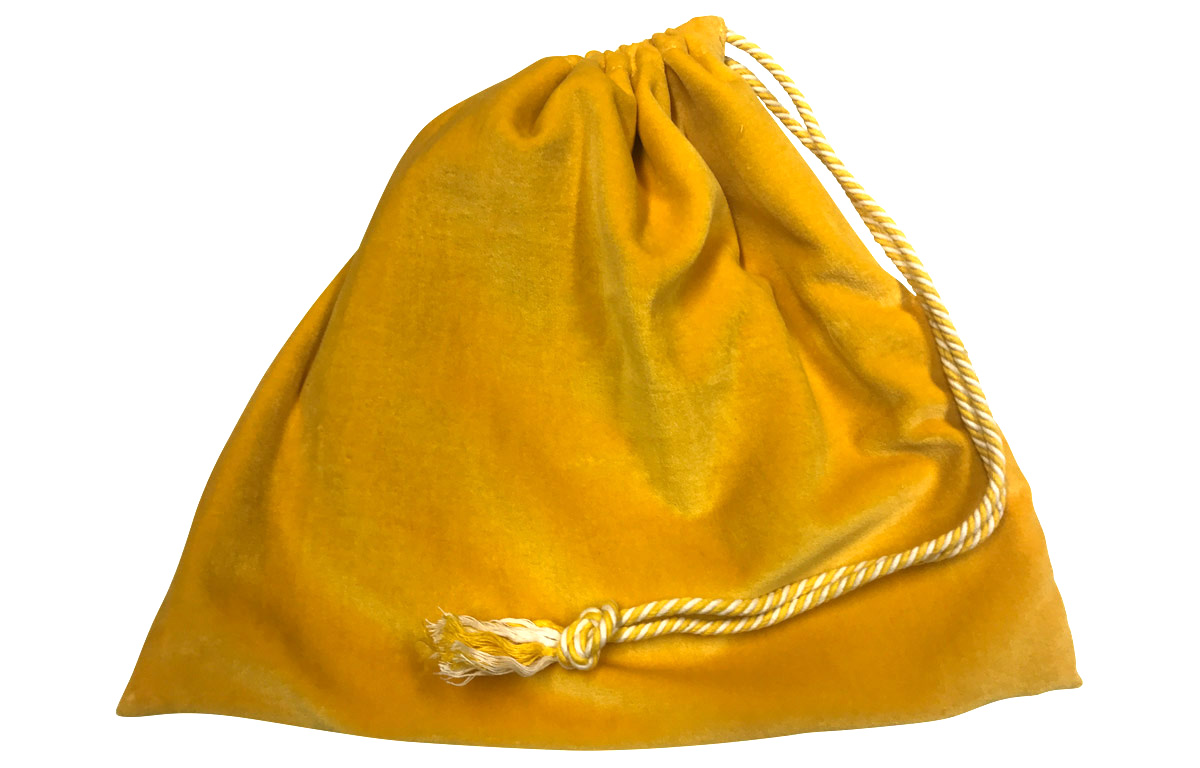 Yellow Velvet Handbag Pouch with Drawstring