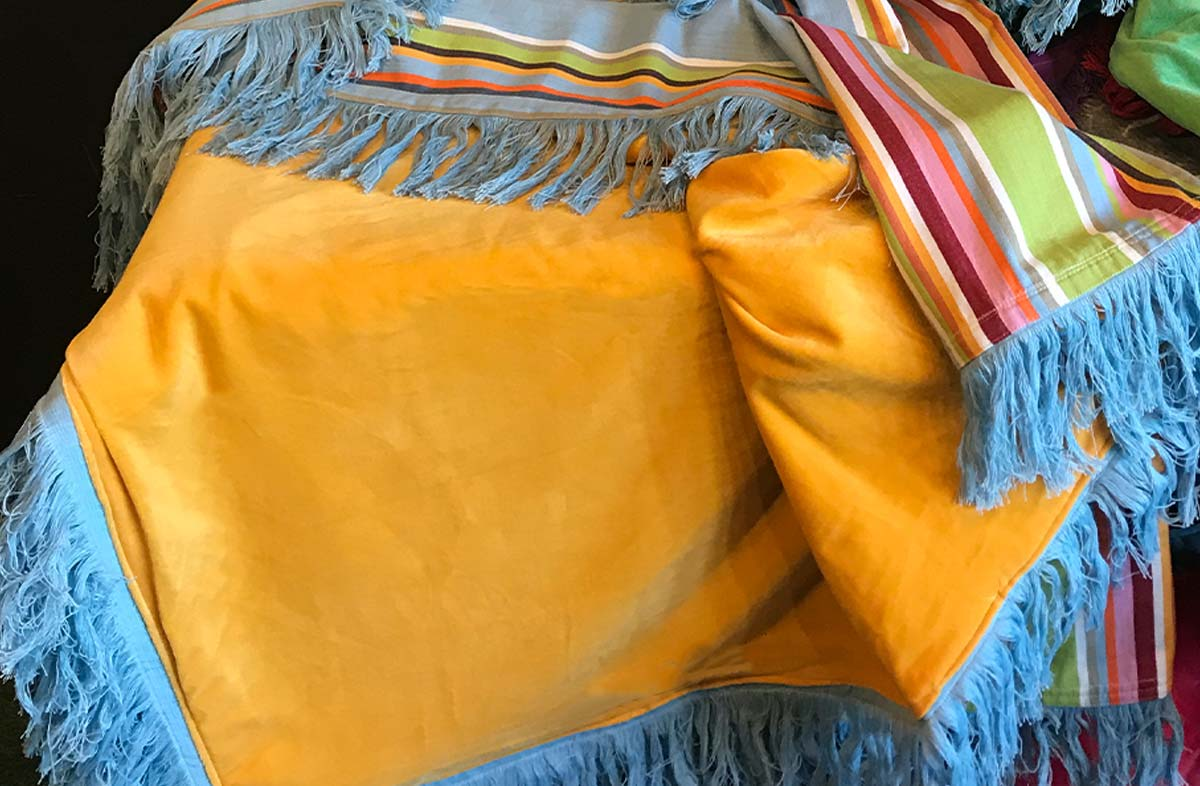 Yellow Velvet Throw with Striped Cotton on Reverse and Long Fringe